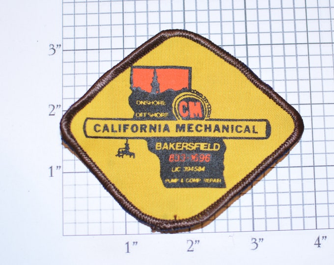 California Mechanical Bakersfield Sew-on Vintage Embroidered Clothing Patch for Uniform Workshirt Jacket Hat Clothes Emblem Worker Offshore
