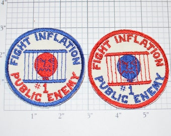 Fight Inflation Public Enemy # 1 Sew-on Vintage Embroidered Clothing Patch (2 Options) Retro 1970's Collectible Emblem Keepsake DIY Fashion