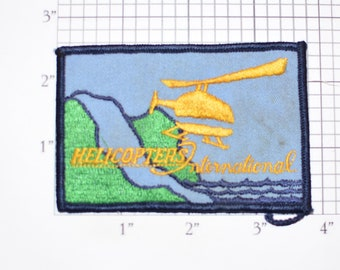 Helicopters International RARE Sew-On Vintage Embroidered Clothing Patch for Jacket Vest Shirt Hat Uniform Chopper Pilot Aircraft Logo
