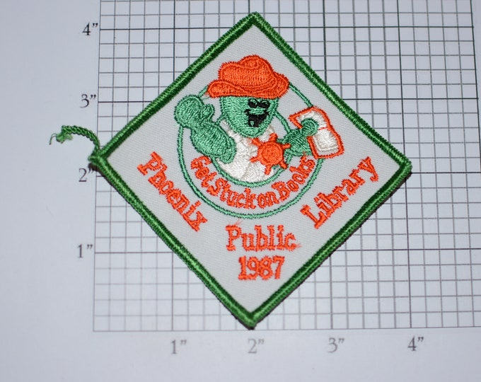 Phoenix Public Library Get Stuck on Books Rare Iron-On 1987 Vintage Embroidered Clothing Patch Cute Fun Reading Kids Girls Craft Project