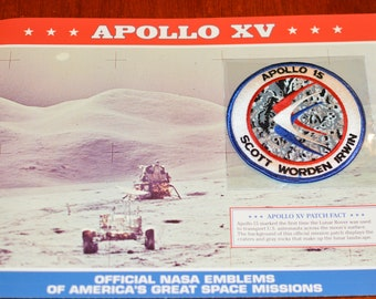 Apollo XV (First Lunar Rover Use) DISCONTINUED Mint Space NASA Mission Patch w/ Statistics and Fact Card Collectible Aerospace Memento