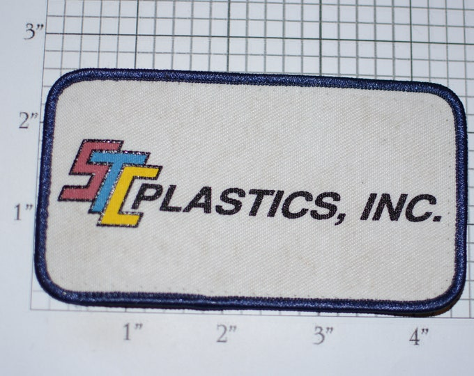 STC Plastics Inc (Dirty / Dingy) Vintage Clothing Patch for Employee Uniform Work Shirt Vest Logo Emblem Collectible Keepsake