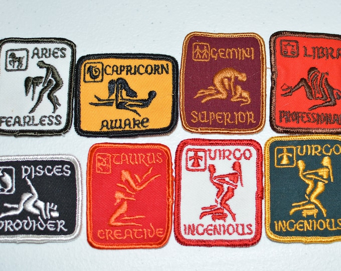 Sexual Position Zodiac Astrology Vintage Sew-on Embroidered Patch Aries Capricorn Gemini Libra Pisces Taurus Virgo Jacket Vest Patch