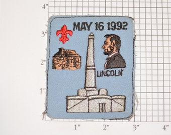 Lincoln (Abraham, President) May 16 1992 (No Border, As-is) Embroidered Vintage Sew-on Clothing Patch Cub Boy Scout BSA Uniform Collectible