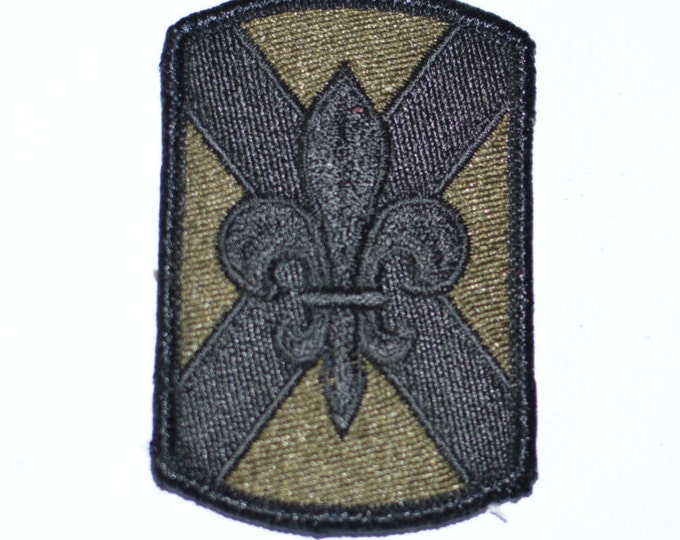 Army 256th Infantry Brigade, Subdued Iron-On Vintage Embroidered Patch, Military Uniform Sleeve Insignia (SSI) BDU ACU, Fleur De Lis s11