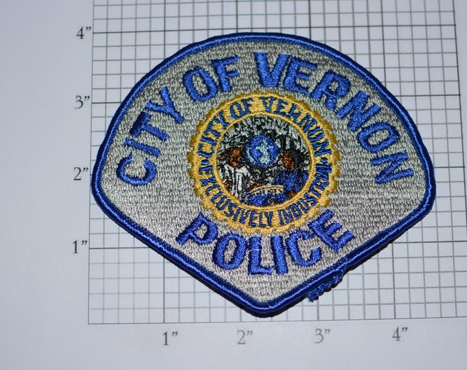 """City of Vernon (California) Police """"Exclusively Industrial"""" Rare Iron-on Embroidered Vintage Patch Uniform Shoulder Collectible Memorabilia"""