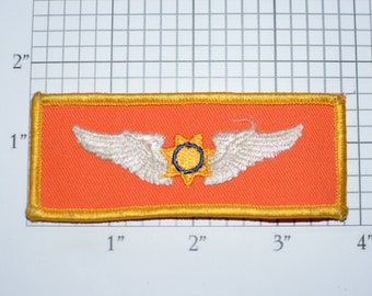 Orange Pilot Wings With Star Center Rare Vintage Sew-On Embroidered Clothing Patch for Shirt Vest Jacket Coat Uniform Crest Airplane Flyer