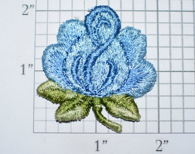 Blue Flower Vintage Sew-on Embroidered Clothing Patch Applique for Craft Project Jacket Shirt Dress Hat Girl Clothes Hole Repair Cover Up