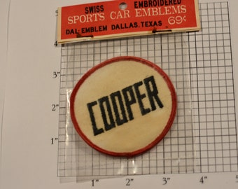 1960's (DISCOLORED Stained) Dal-Emblem Licensed Vintage Cooper Automobile Embroidered Patch Sew-on Applique Sports Car Emblems Collectible