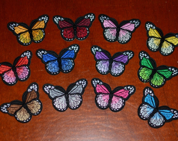 Butterfly Iron-on Embroidered Clothing Patches, 12 Different Color Options for Jeans Jacket Dress Purse Backpack and MORE DIY Fashion Accent