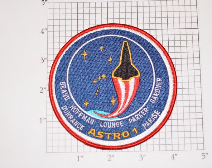STS-35 Space Shuttle Columbia Astro 1 Spacelab Observatory Telescopes Iron-on Embroidered Astronaut Mission Patch Collectible NASA Emblem