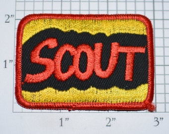 SCOUT Iron-on (Or Sew-On) Vintage Embroidered Clothing Patch Employee Uniform Name Tag Nickname Gift Idea DIY Fashion Accent Embellishment