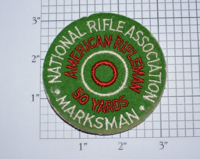 National Rifle Association Marksman American Rifleman 50 Yards Award (NRA) Sew-on Vintage Embroidered Clothing Patch Shooting Memorabilia