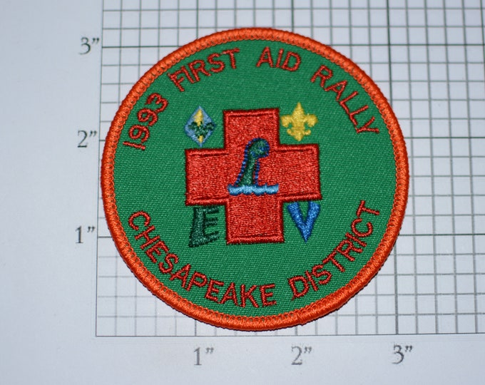 1993 First Aid Rally Chesapeake District Vintage Embroidered Clothing Patch Boy Cub Scout Uniform BSA Badge Keepsake Collectible Emblem