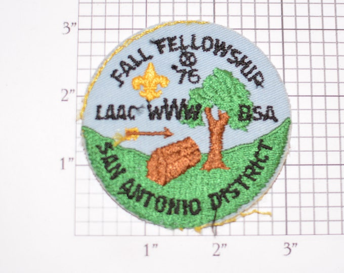 Fall Fellowship San Antonio District LAAC WWW Order of Arrows (No Border, As-is) Embroidered Vintage Sew-on Patch Boy Scouts BSA Collectible