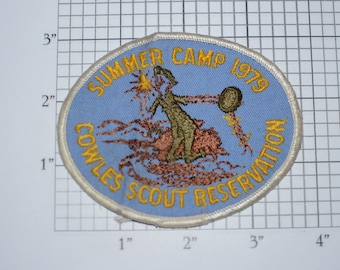 Summer Camp 1979 Cowles Scout Reservation BSA Sew-On Vintage Embroidered Clothing Patch Uniform Shirt Jacket Badge Keepsake Memorabilia