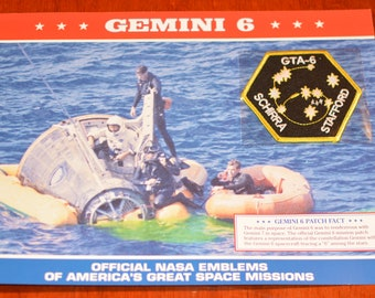 Gemini 6 GTA-6 Schirra Stafford DISCONTINUED Mint Space NASA Mission Patch w/ Statistics and Fact Card Collectible Aerospace Memento