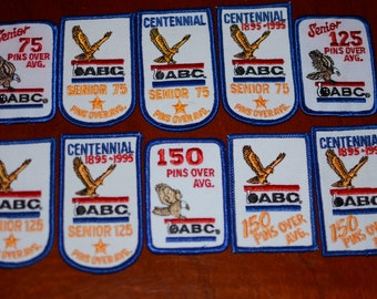 """ABC (American Bowling Congress) Senior Bowler """"Pins Over Average"""" Achievement Iron-on Vintage Embroidered Clothing Patch Shirt Award Emblem"""