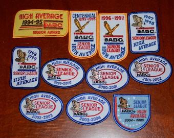 "ABC (American Bowling Congress) Senior League ""High Average"" Achievement Iron-on Vintage Embroidered Clothing Patch Award Emblem Keepsake"