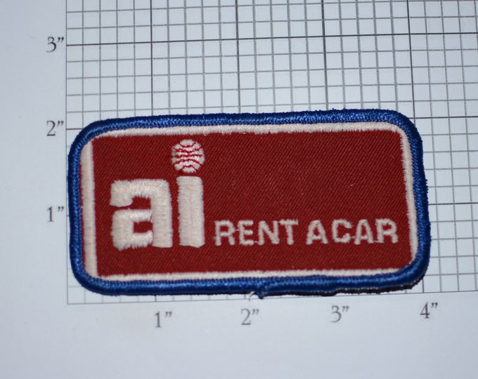 AI Rent a Car Rare Authentic Vintage Sew-On Embroidered Clothing Patch Auto Rental Airport Travel Corporate Advertisement Uniform Desk Clerk