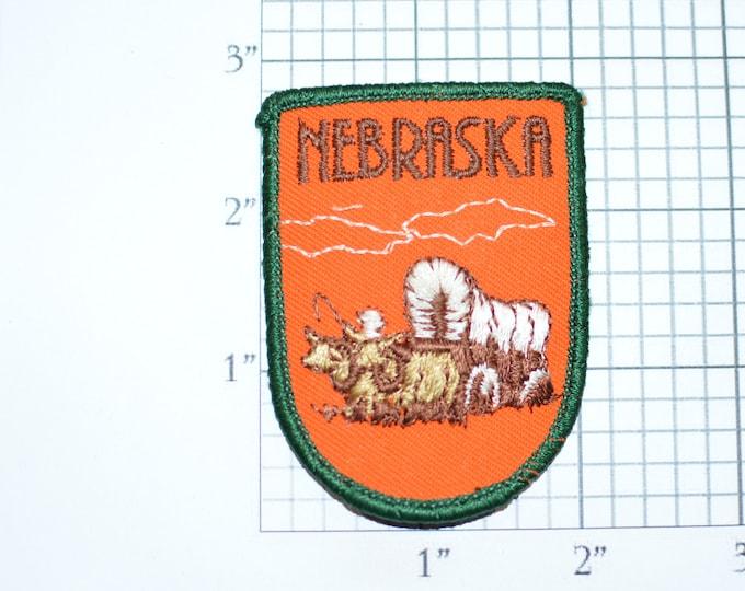 Nebraska Covered Wagon Emblem Iron-On Vintage Travel Patch Trip Souvenir for Jacket Backpack Keepsake Gift Idea Scrapbook Collectible Crest