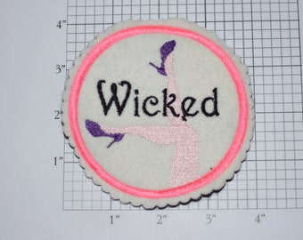 Wicked 4-Inch Sew-on Embroidered Clothing Patch Ladies Sexy Legs High Heel Shoes DIY Fashion Accent for Apparel Purse Bag Fun Woven Emblem