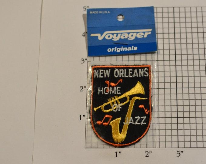 New Orleans Home Of Jazz (Voyager Originals Badge Sealed Pkg) Vintage Sew-on Travel Patch Souvenir Gift Idea Scrapbook Keepsake Collectible