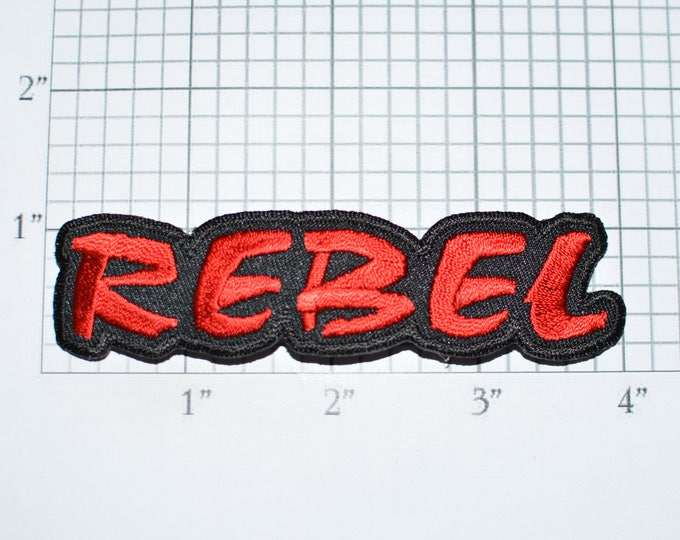 REBEL Red Iron-On Embroidered Clothing Patch Funny Biker Jacket Jeans Backpack Shirt Hat Sassy Troublemaker Novelty Badge Emblem Text e32b