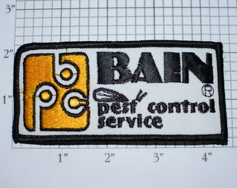 Bain Pest Control Iron-on Vintage Embroidered Patch Uniform Shirt Jacket Costume DIY Craft Idea Scrapbook Memorybox Memento Exterminator