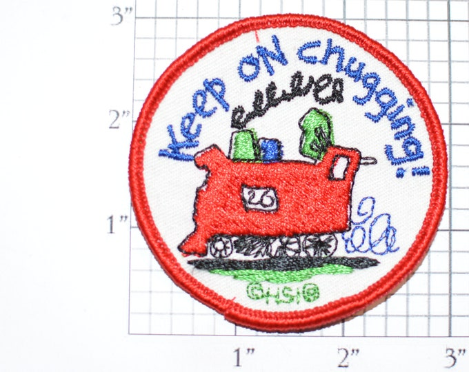 """Voyager """"Keep on Chugging!"""" Train Locomotive Engine Sew-on Vintage Embroidered Clothing Patch (Excellent Condition) HSI Cute Fun Emblem Logo"""