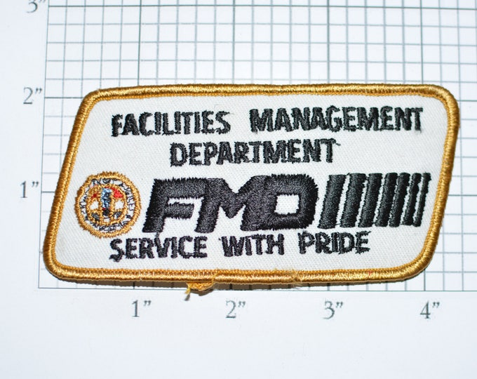 Facilities Management Department FMD Service With Pride Iron-on Vintage Embroidered Patch Jacket Shirt Vest Hat Los Angeles California e31k