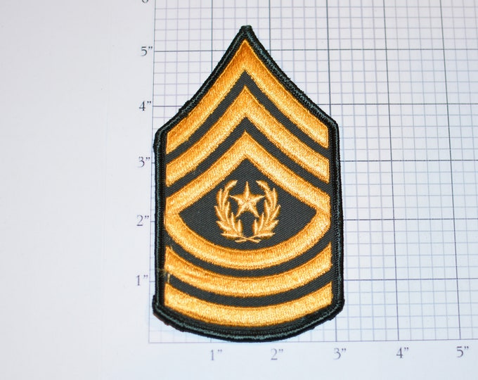 US Army Command Sergeant Major Rank Vintage Insignia E-9 Pay Grade 1970's Vintage Embroidered Uniform Patch Emblem Military Retiree Memento