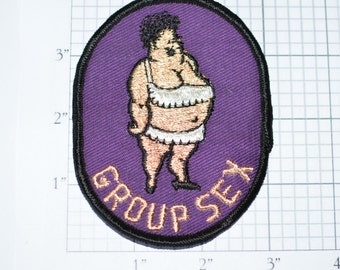 Group Sex - Funny Flirty Naughty Sexual Icebreaker Sew-On Vintage Patch (Black Border Version) *Limited Stock*  e14h