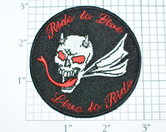 VERY RARE Ride To Live, Live to Ride Devil / Demon Skull Wings Horns Red Eyes Forked Tongue Iron-On Patch Motorcycle Outlaw Biker 1%er e32b