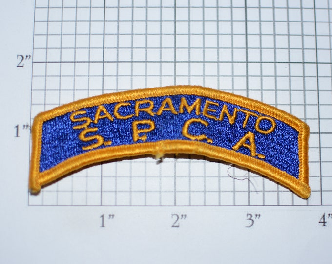 Sacramento S.P.C.A. (Society for the Prevention of Cruelty to Animals) Vintage Sew-On Embroidered Pocket Rocker Patch Uniform Shirt Jacket