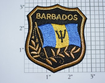 BARBADOS Iron-on Embroidered Clothing Patch Flag in Shield Design w/Metallic Gold Threading Beautiful Travel Trip Tourist Souvenir Memento
