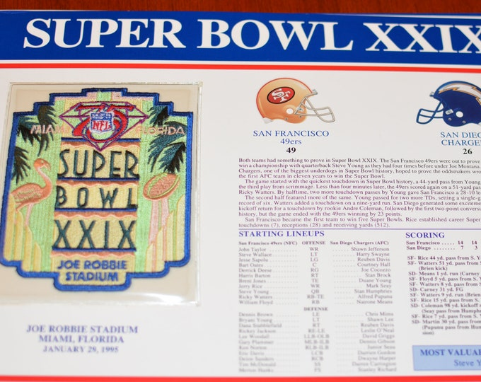 Willabee & Ward Official NFL Super Bowls 29-37 Embroidered Sealed MINT Patch on Stat Card (See Multiple Pics) Licensed Collectible Emblem