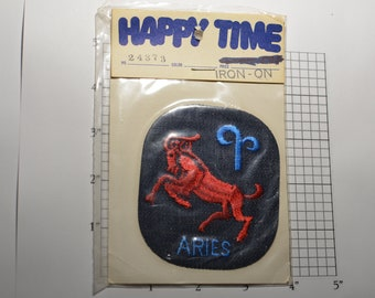Aries Ram Zodiac Astrology Embroidered Vintage Iron-on Clothing (Sealed in Original Pkg) for Jacket Jeans Vest Backpack Hippie Boho Retro