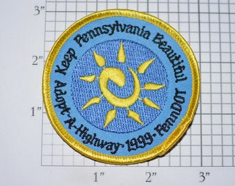 Keep Pennsylvania Beautiful, Adopt a Highway PennDOT Sew-On 1999 Vintage Embroidered Clothing Patch Emblem Collectible Logo Keepsake Memento