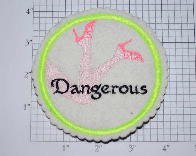 Dangerous 4-Inch Sew-on Embroidered Clothing Patch High Heel Shoes Ladies Sexy DIY Fashion Accent for Apparel Purse Bag Fun Woven Emblem