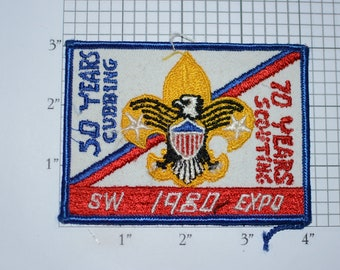 50 Years Cubbing 70 Years Scouting 1980 SW Expo BSA Vintage Sew-on Embroidered Patch Uniform Shirt Jacket Collectible Collectible Keepsake