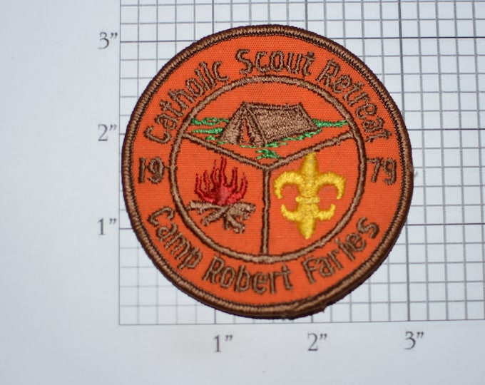 Catholic Scout Spring 1979 Camp Robert Faries BSA Event Sew-On Vintage Embroidered Clothing Patch Boy Cub Scout Collectible Keepsake Emblem