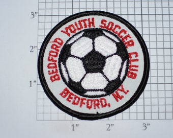Bedford Youth Soccer New York NY Vintage Sew-on Embroidered Clothing Patch Applique Kids Sports Uniform Shirt Jacket Jersey Logo Collectible