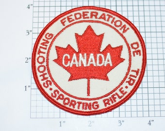 Canada Shooting Federation De Tir Sporting Rifle Embroidered Crest Rare Sew-on Vintage Embroidered Patch Keepsake Collectible Memento