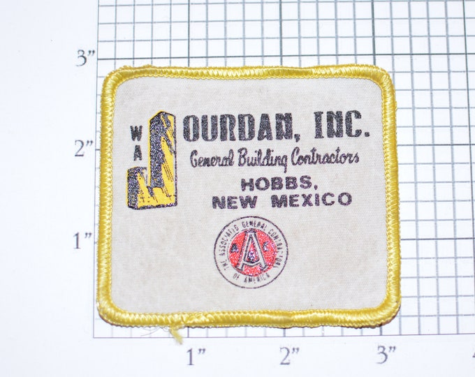 WA Jourdan General Building Contractors Hobbs New Mexico (Dirty and/or Distressed) Vintage Sew-on Embroidered Clothing Patch for Uniform