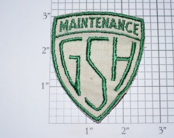 Maintenance GSH Vintage Sew-on Embroidered Clothing Patch for Uniform Shirt Jacket Emblem Logo Worker Contractor Building Services Monogram