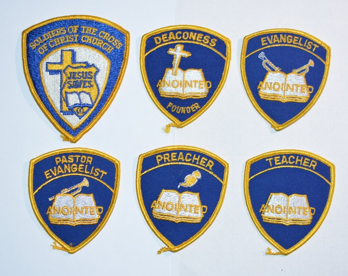 Soldiers of Cross Christ Church Vintage Iron-on Embroidered Patches Jesus Saves Deaconess Evangelist Pastor Preacher Teacher Anointed s5