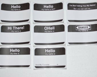Hello My Name Is (And Funny Novelty Variations) Paper Stickers (Lot of 24) for Office Meeting Parties Fun Icebreaker Introduction Customized