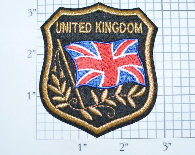 United Kingdom UK Iron-on Embroidered Clothing Patch Flag in Shield w/Metallic Gold Threading Beautiful Travel Trip Tourist Souvenir Memento