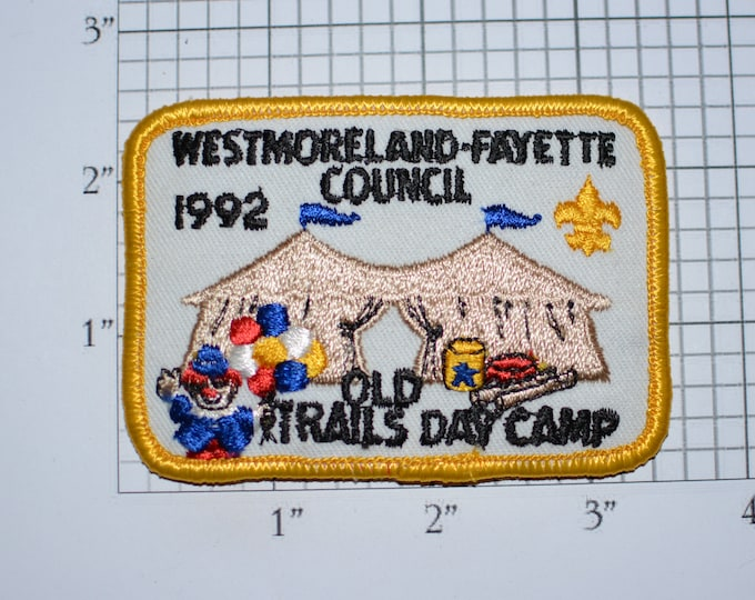 Westmoreland Fayette Council 1992 Old Trails Day Camp BSA Iron-On Vintage Embroidered Clothing Patch Uniform Shirt Jacket Scouting Badge